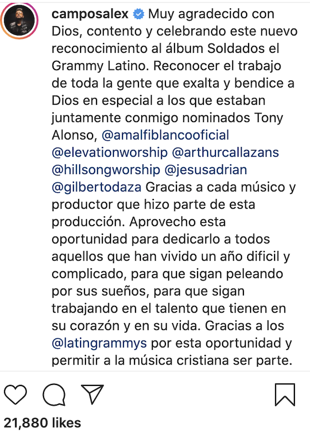 Alex Campos recibe Grammy latino