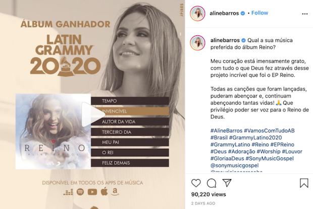 Aline Barros agradece al recibir Grammy Latino 2020