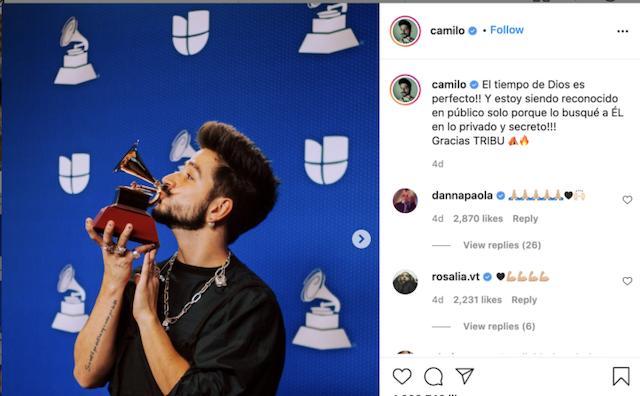 Camilo agradece a Dios por premio Grammy