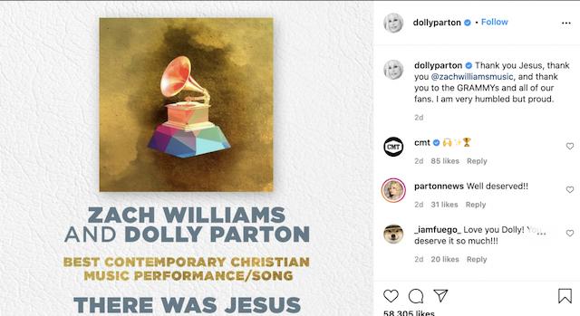 There was Jesus de Dolly Parton gana Grammy