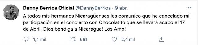 Danny Berrios cancela su participación en concierto de Chocolatito