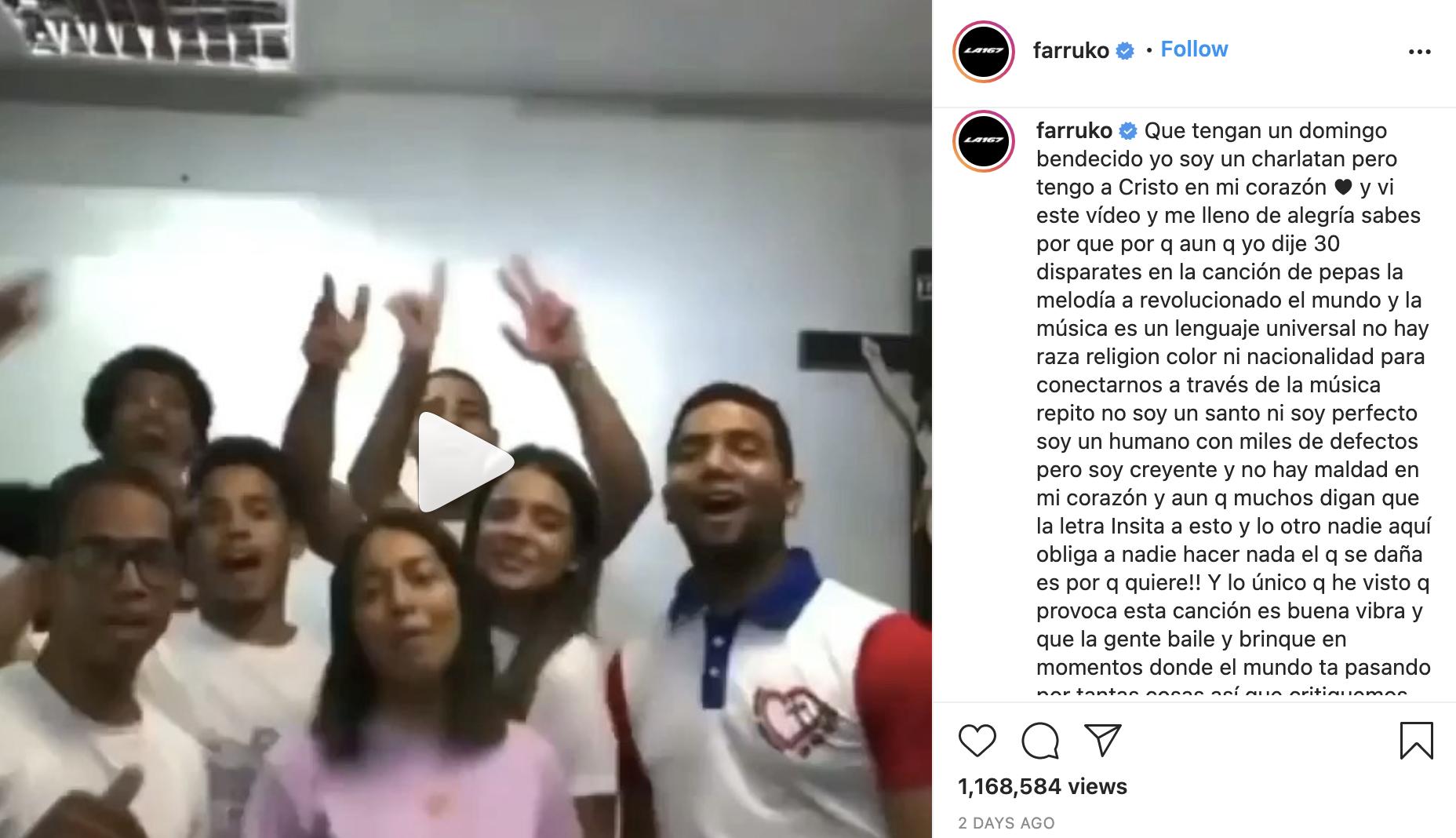 Farruko comparte versión cristiana de la canción Pepas