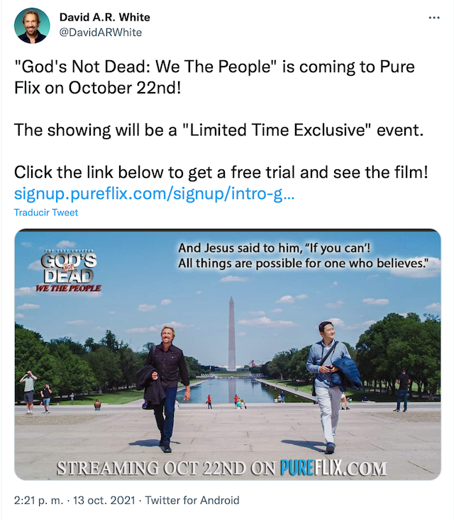 David AR White anuncia Dios no está muerto 4 llegará a PureFlix