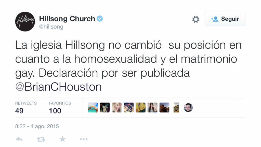 Iglesia Hillsong y matrimonio Gay