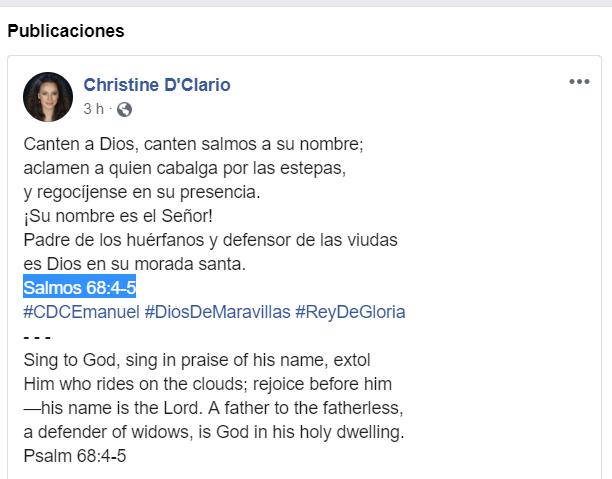 Christine D'Clario cita el salmo 68