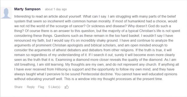 Respuesta de Marty Sampson