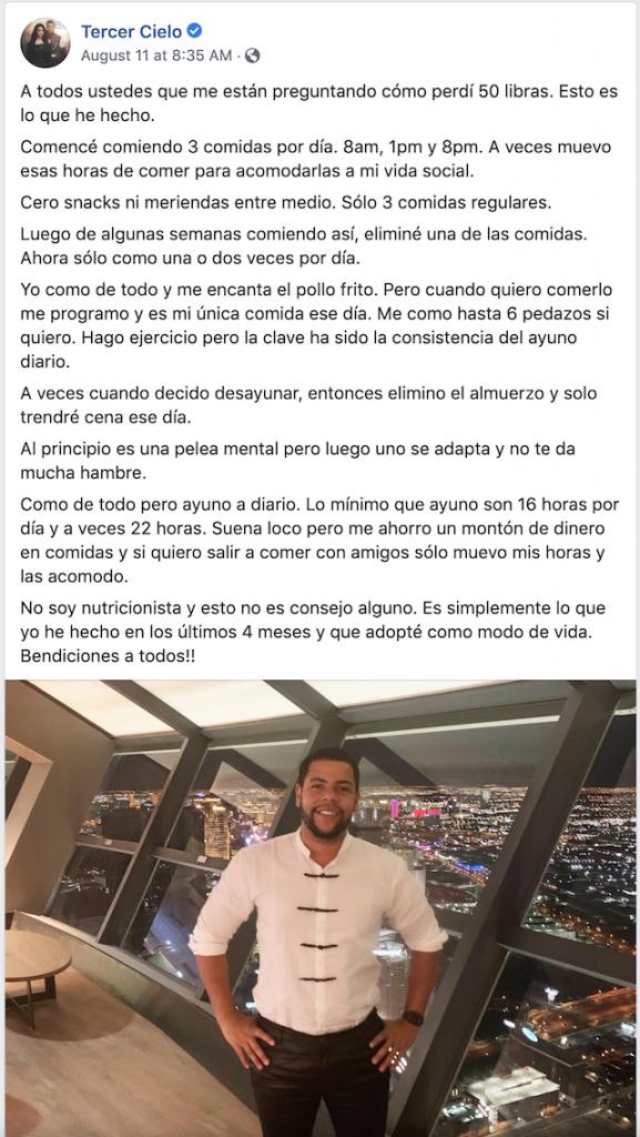 Tercer cielo Juan Carlos explica cómo bajó cincuenta libras