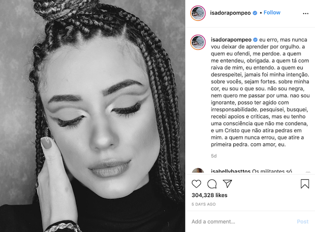 Isadora Pompeo acusada de racismo