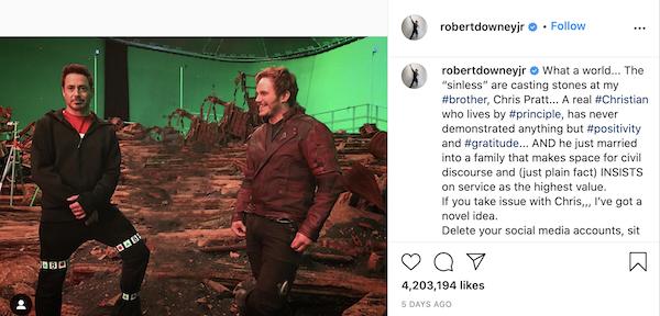 Robert Downey Jr defiende a Chris Pratt