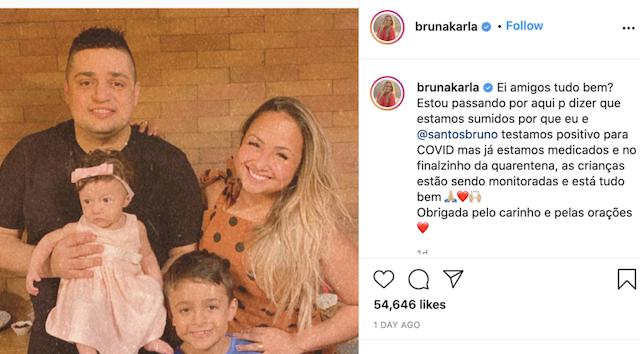 Bruna Karla y esposo positivo covid-19