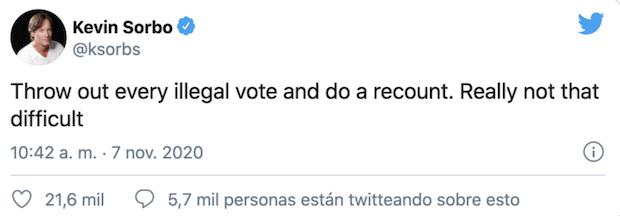 Comentario de Kevin Sorbo en Twitter sobre Donald Trump y las elecciones de Estados Unidos