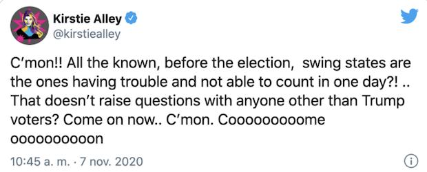 Comentario de Kristie Alley en Twitter sobre Donald Trump y las elecciones de Estados Unidos