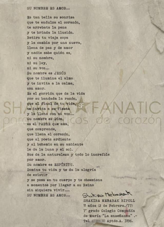 Carta escrita por Shakira para Dios