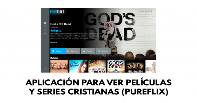 Aplicación para ver películas y series cristianas (PureFlix)
